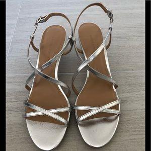 Banana Republic silver strappy heels sandals